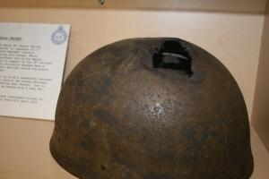 Helmet show sniper bullet hole